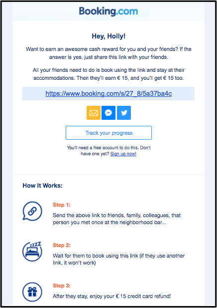 Booking.com referral example