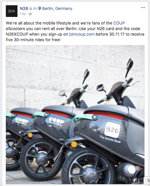 Coup & N26 promotion example