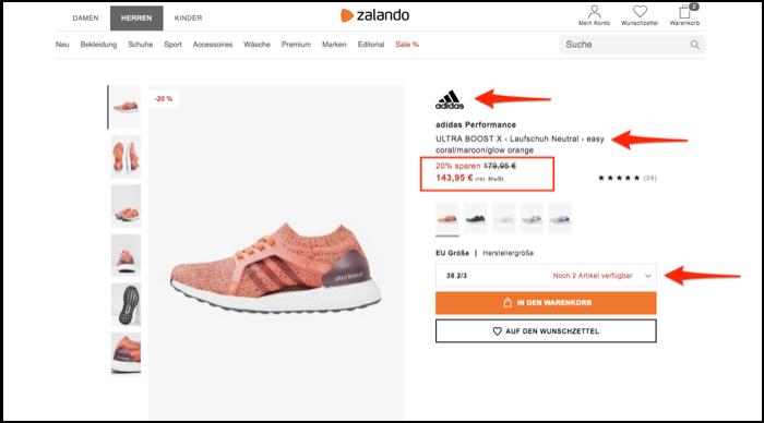 Adidas shoe on Zalando