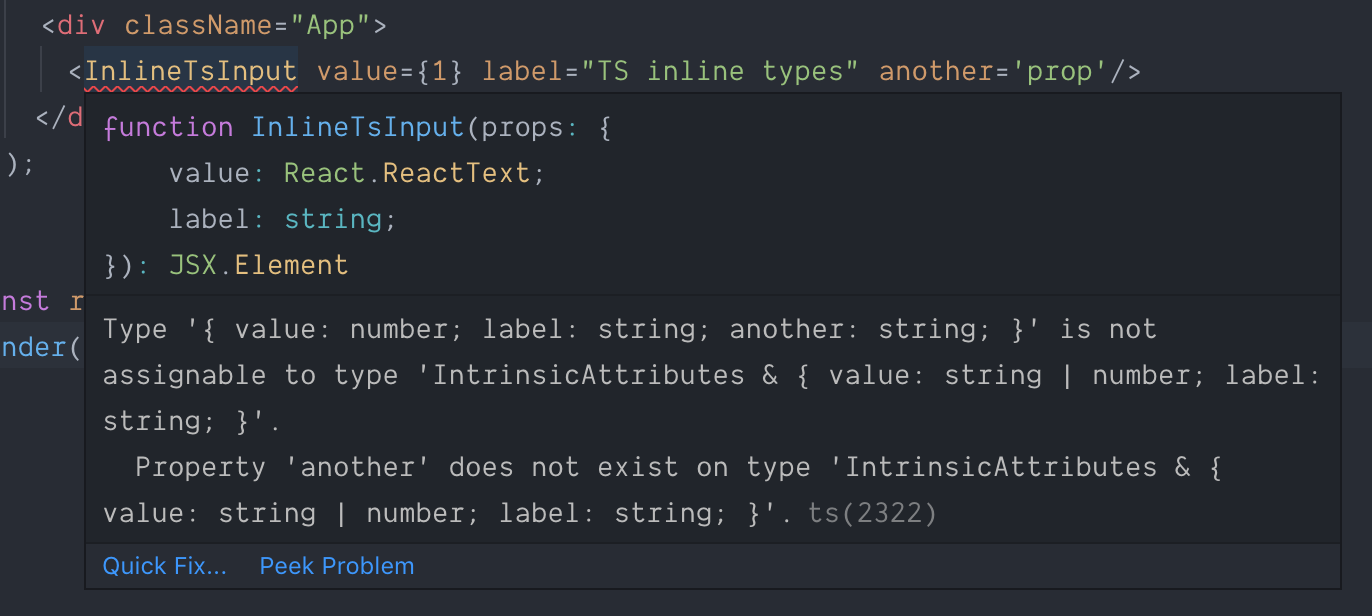 TypeScript error: Property 'another' does not exist