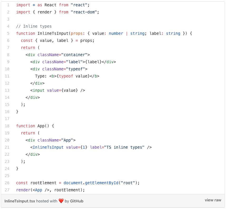Inline TypeScript input