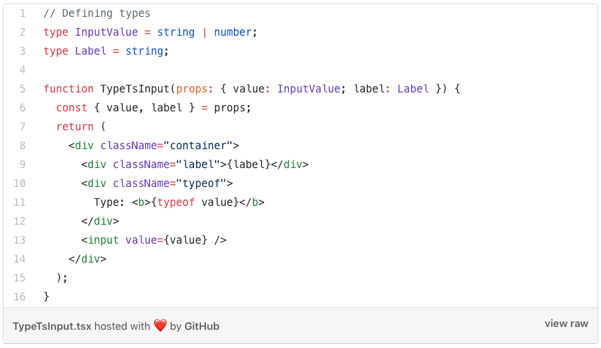 TypeScript Input n Github with strings and functions
