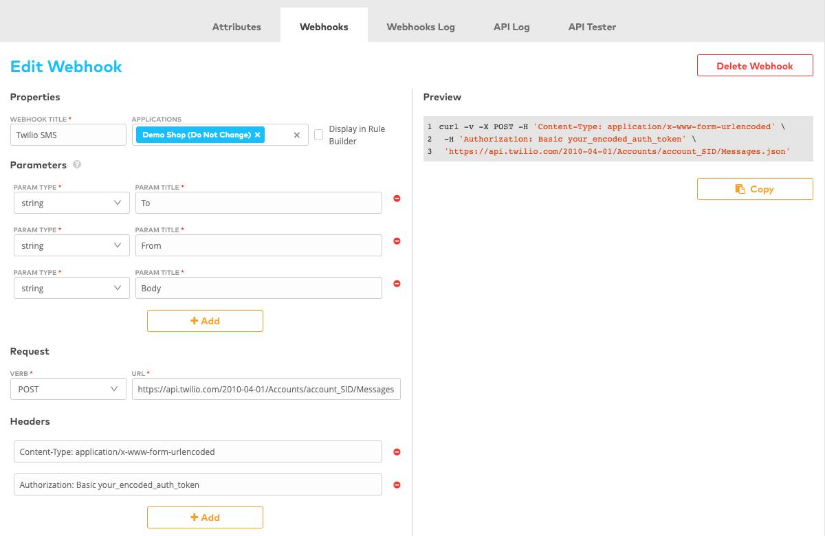 Webhook Interface Twilio