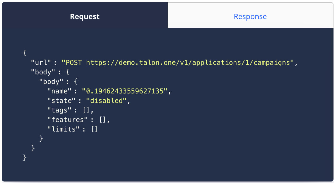 API request and response