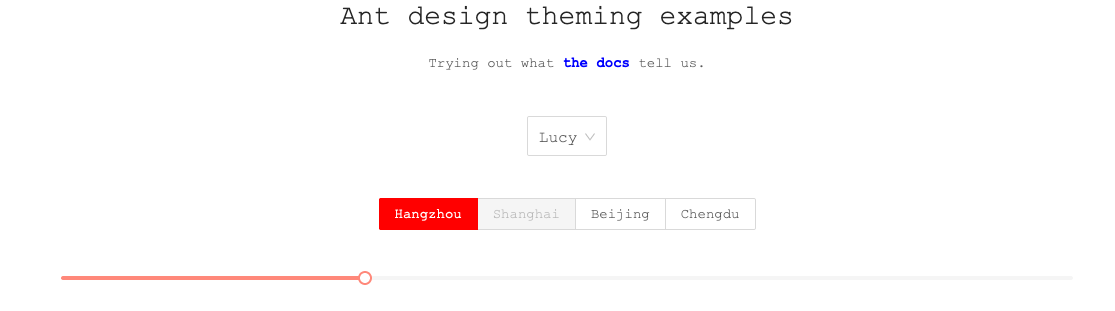 Example app with our final theme (red with Courier font and blue links)