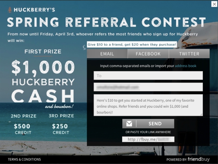 Huckberry's referral competition