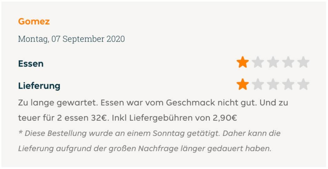User review feedack for Lieferando restaurant