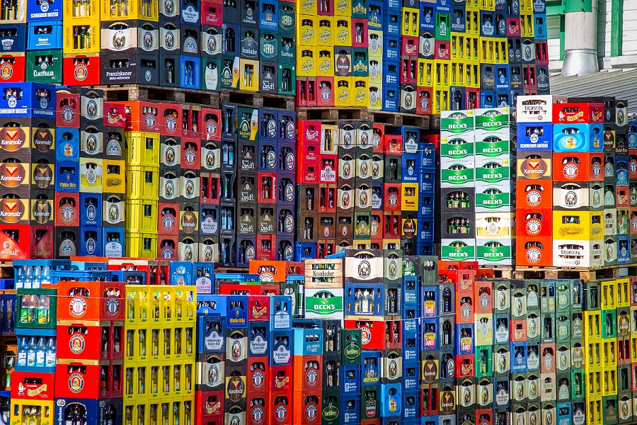 A warehouse full of beer bottle crates