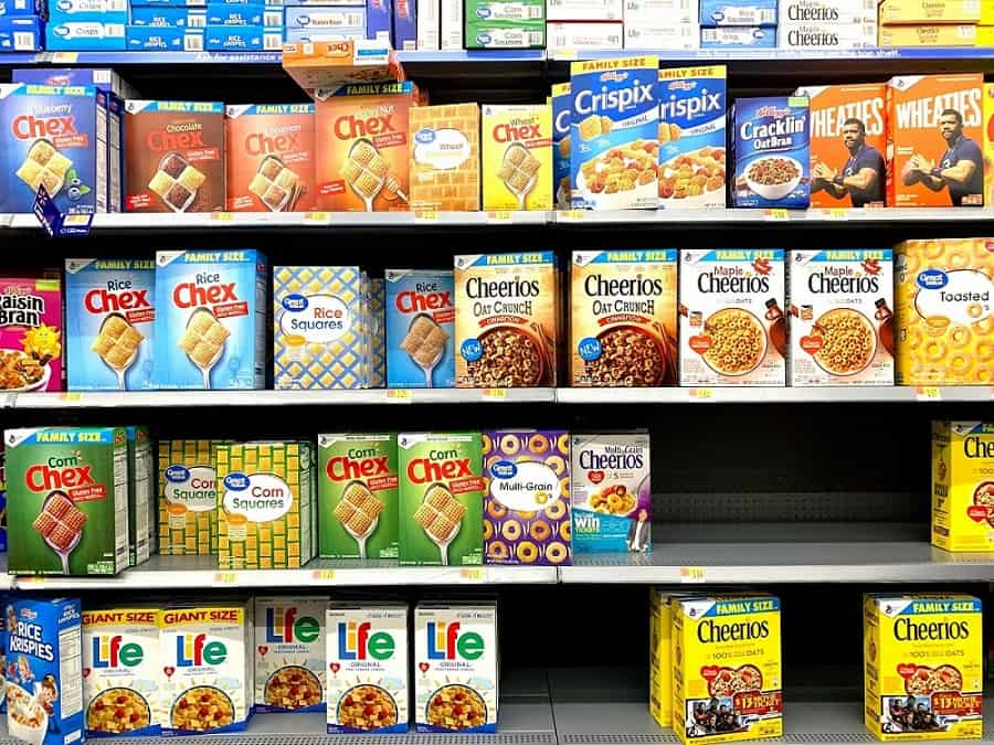 Boxes of cereal on shelves