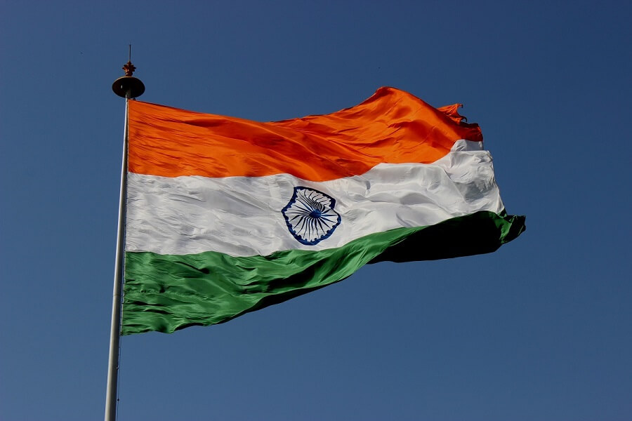 An Indian flag blowing in the wind