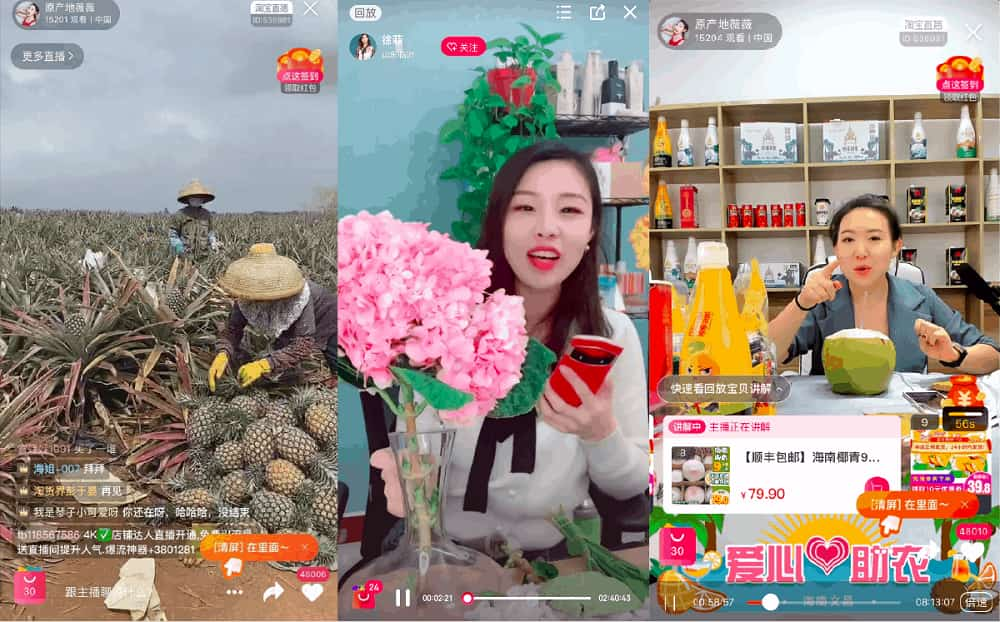 Live shopping streams on Taobao Live