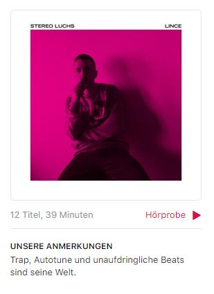 Stereo Luchs «Lince» - Der Dancehall-Prinz der Schweiz hat auf einer Dancehall-Platte par excellence einen Song, der «Dancehall» heisst und Apple Music entscheidet sich für den Begriff «Trap».