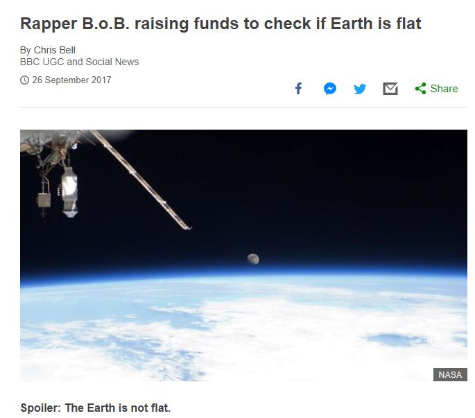 Es ist 2019 und B.o.B. glaubt immer noch an die Flat Earth-Theory.