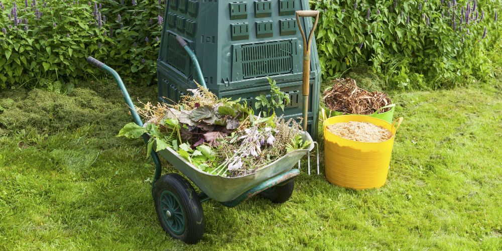 composting bin and wheelbarrow