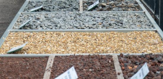 Pebbles and rocks display
