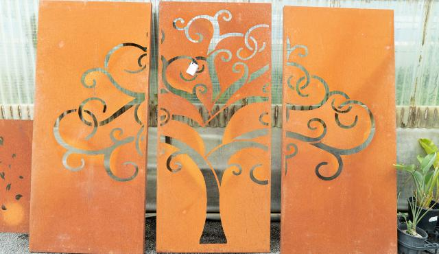 corten garden screening panels on display in garden centre