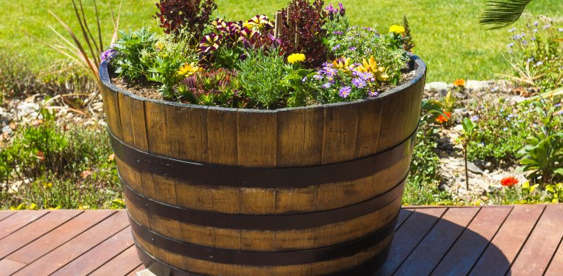 wine barrel garden decor