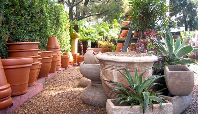 garden pots displayed in garden centre