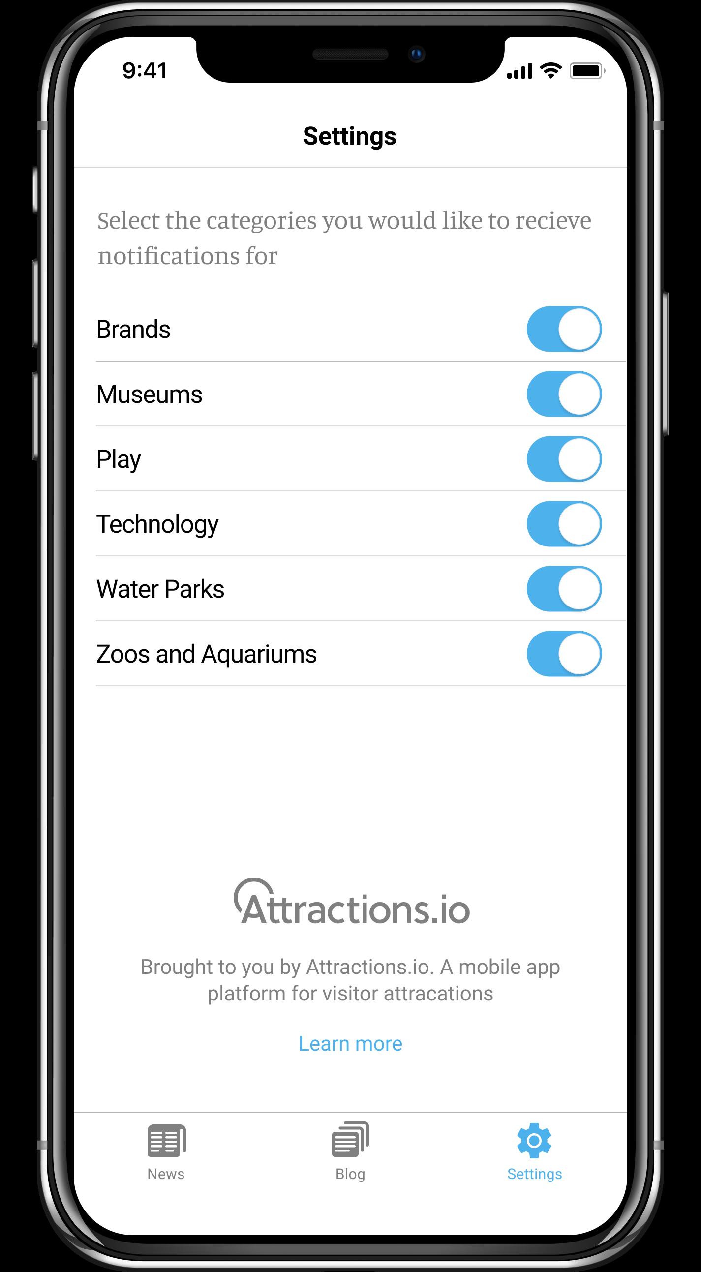Blooloop App Categories
