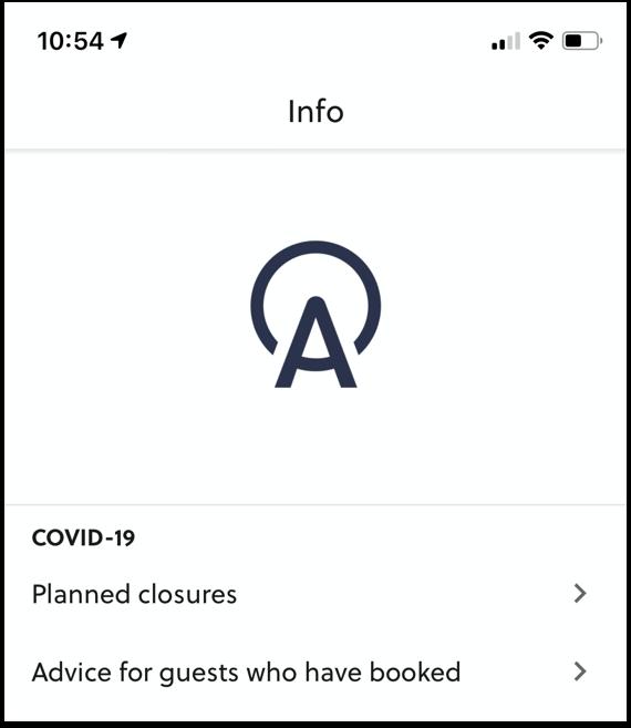 COVID-19 In-app message