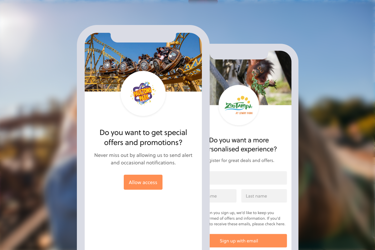 Paultons Park and ZooTampa opt-in screens