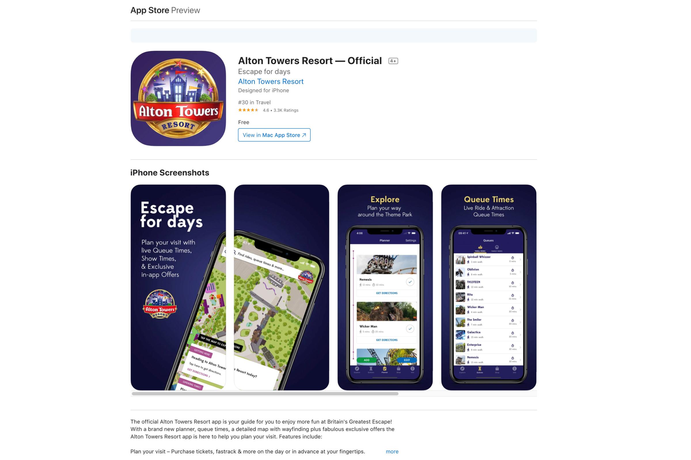 Alton Towers Resort app in the Apple app store