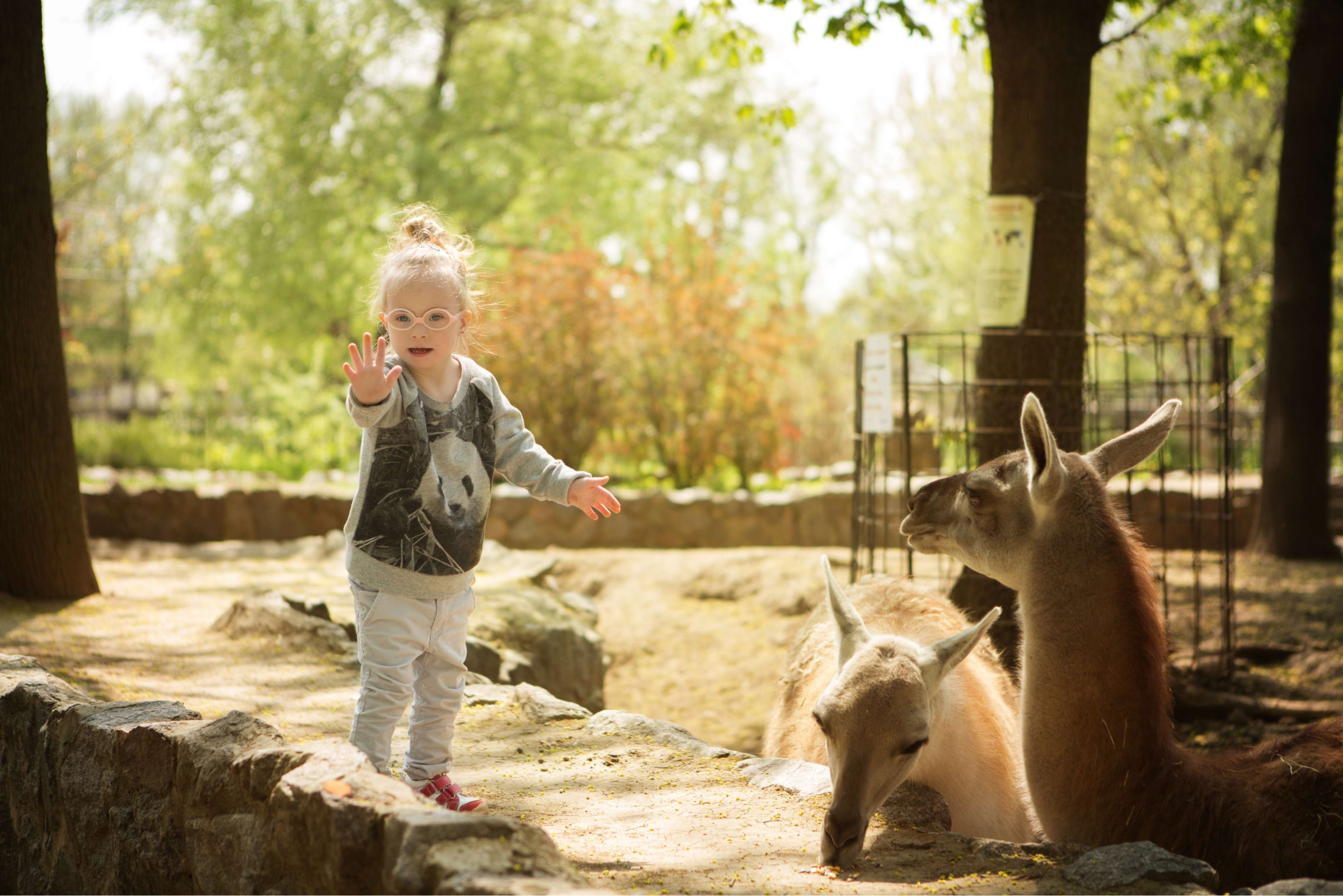 girl with downs syndrome enjoying the zoo