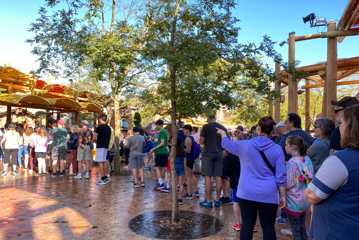 Guests frustrated waiting in line at theme park