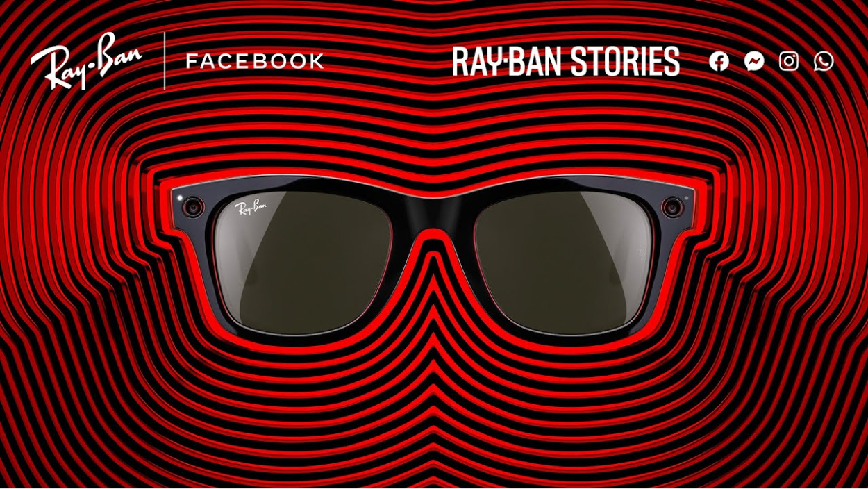 advert for the new rayban stories smart glasses