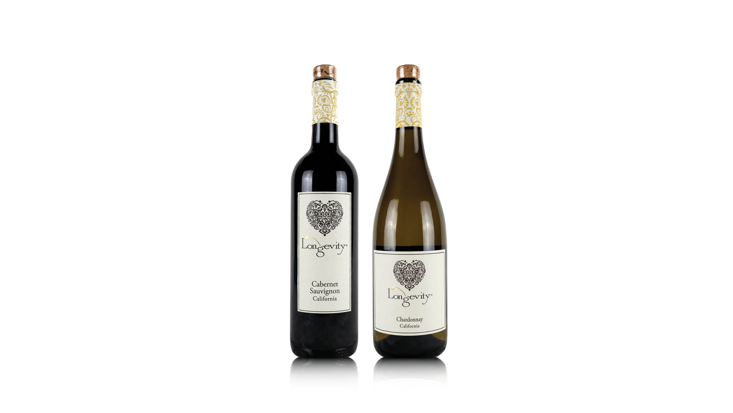 Two Bottles of longevity brand wines sitting on a white backdrop.