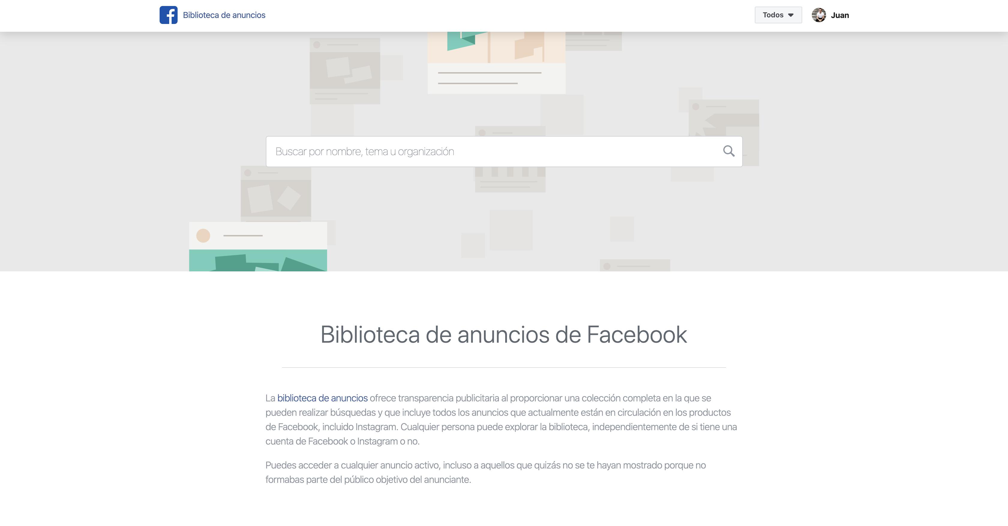 espiar los anuncios de Facebook