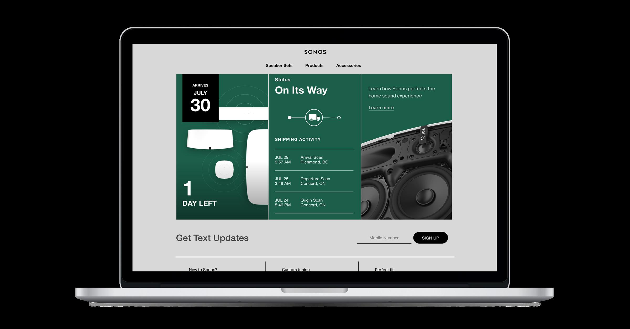 Narvar Customer Stories - Shipping Order Tracker - Sonos