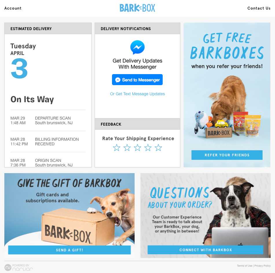 Barkbox Narvar tracking page