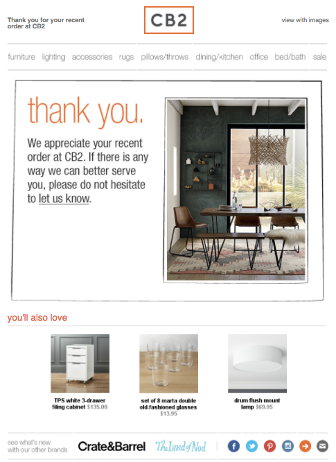 CB2 thank you email