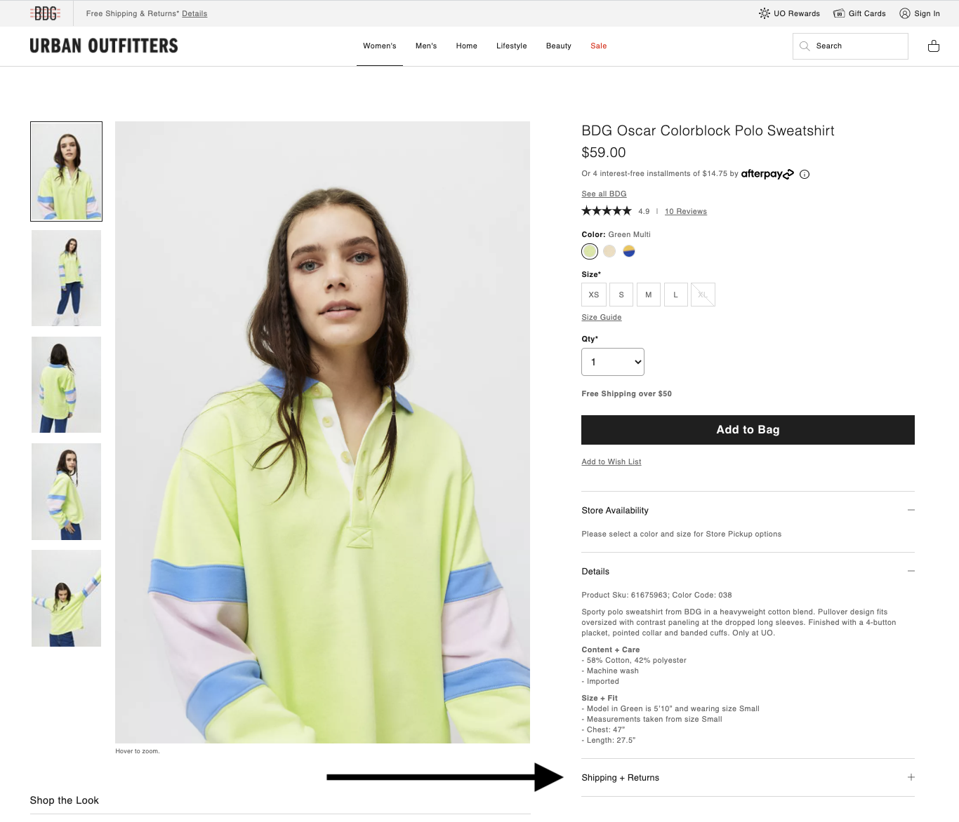 Urban Outfitters' return policy visibility example