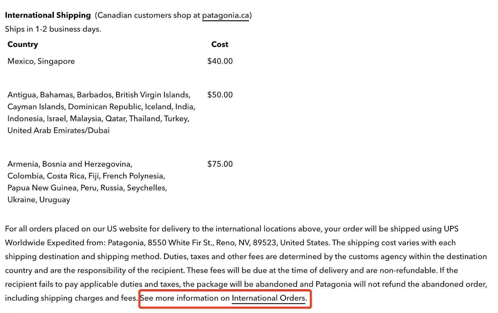 Patagonia international shipping policy example