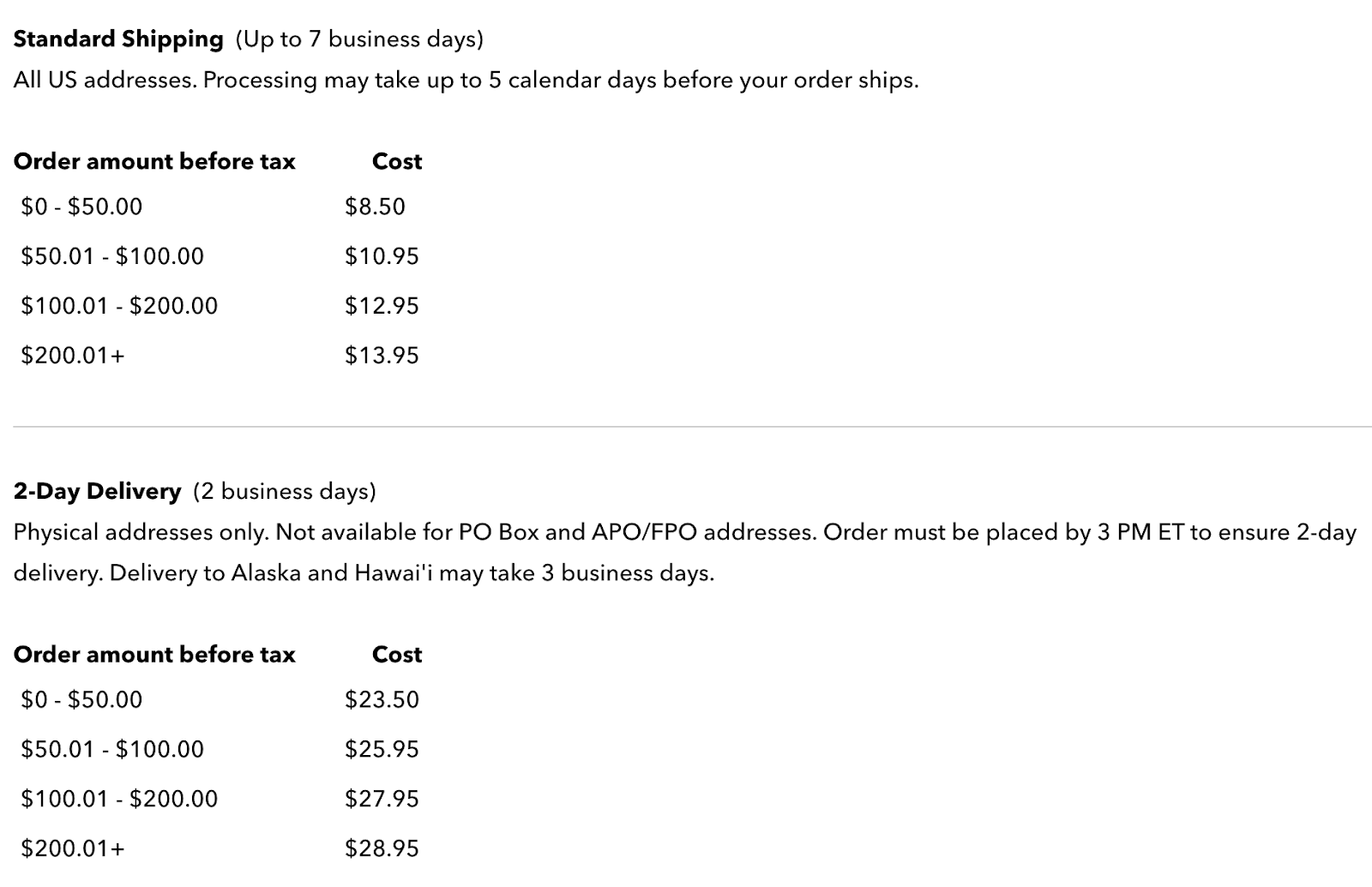 Patagonia domestic shipping policy example