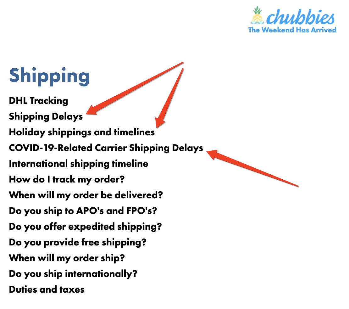Chubbies shipping information examples
