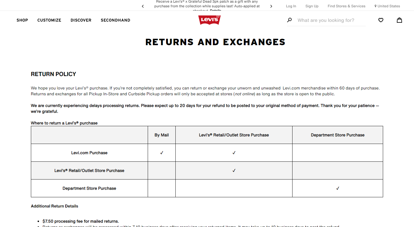 Levi's store policy example: return policy