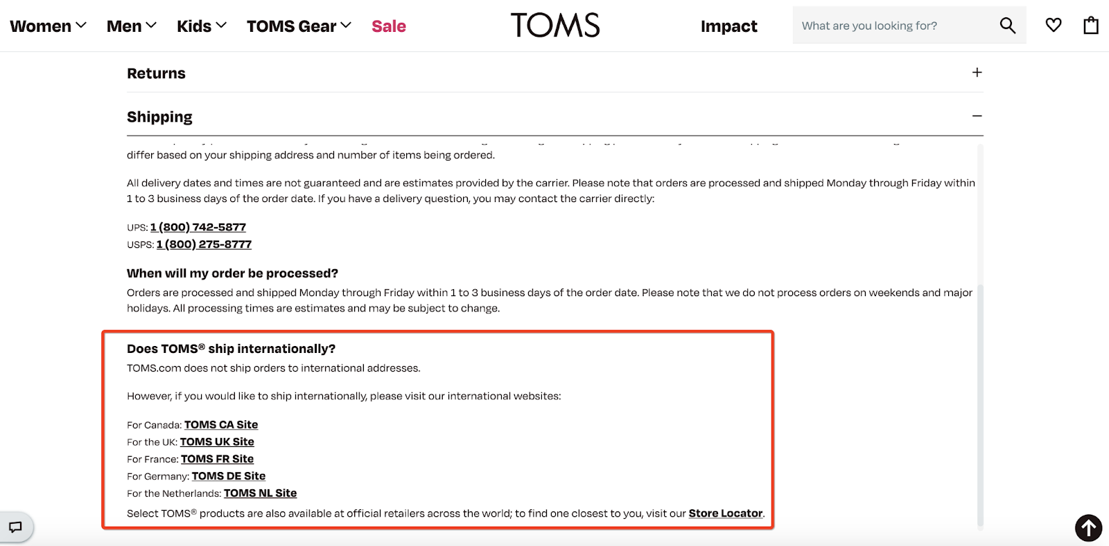 TOMS store policy example: international shipping policy