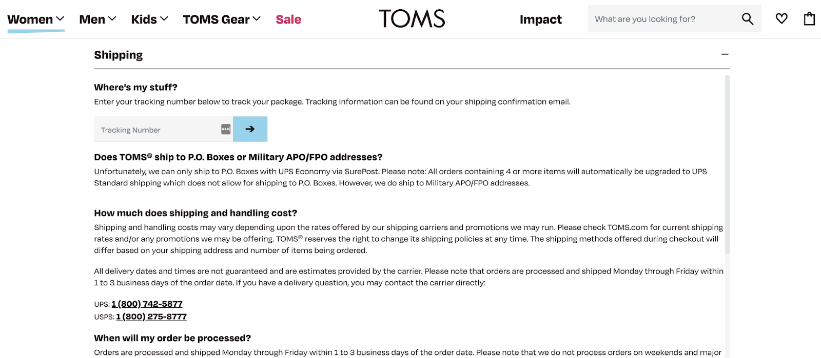 TOMS store policy example: shipping policy