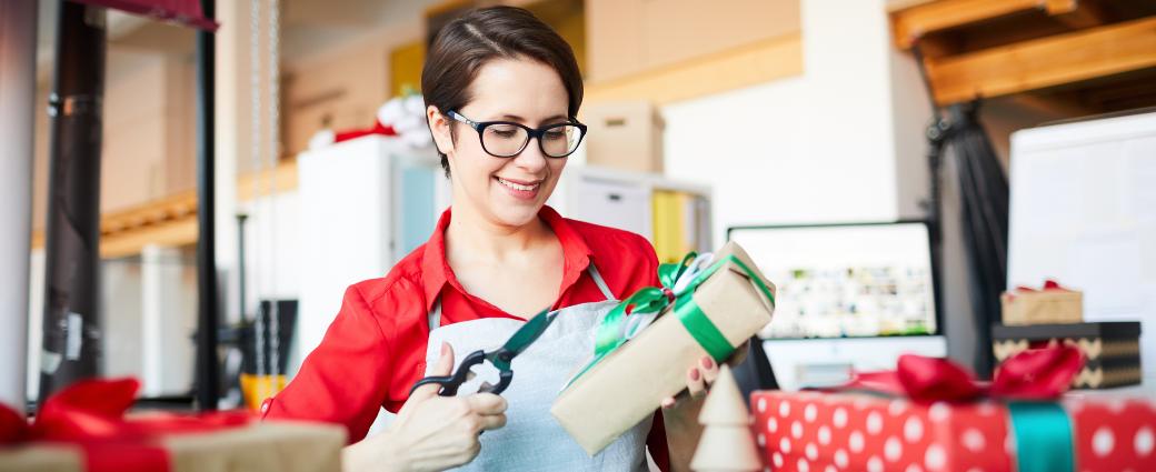 Business owner preparing holiday orders