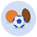 A basketball, a football and a rugby ball.