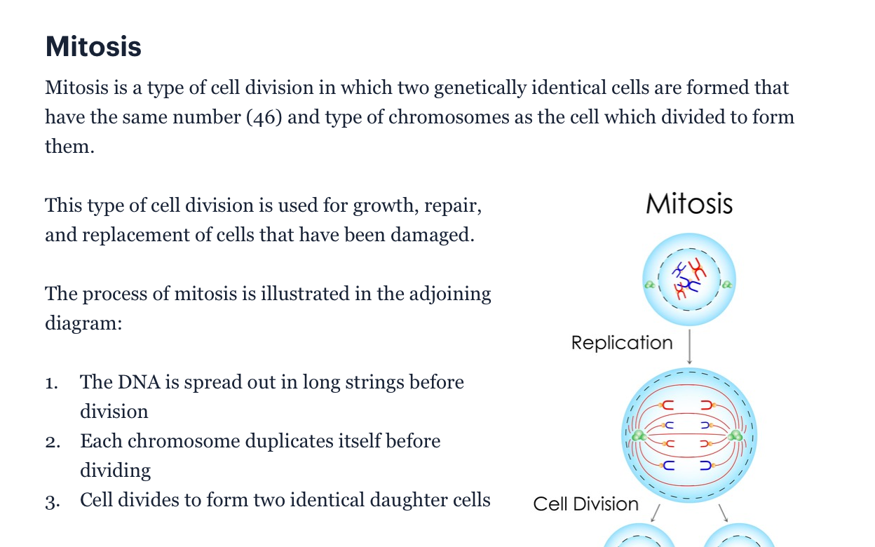 Screenshot of Learn section of Medify BMAT tool showing information about cellular mitosis