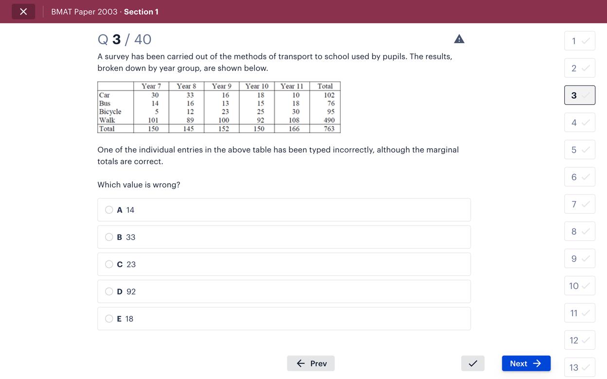 Screenshot of Medify BMAT tool showing a maths question