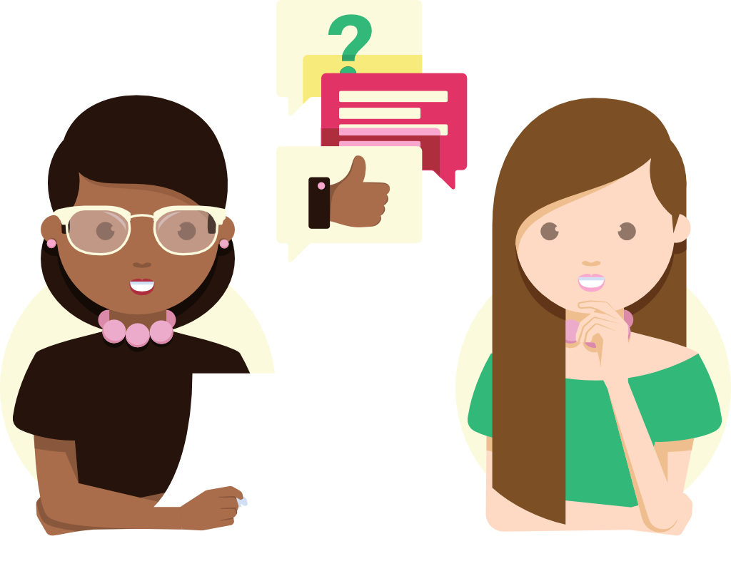 Illustration of a woman asking another woman questions