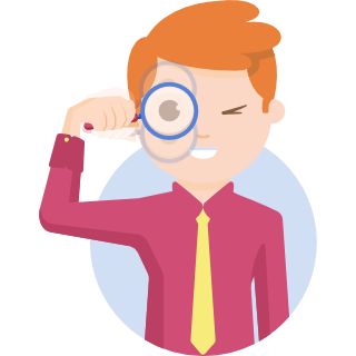 Illustration of a man looking through a magnifying glass