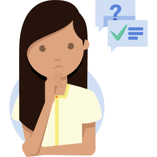 Illustration of a woman considering some questions