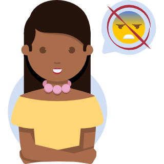 Illustration of a woman appearing happy but feeling nervous
