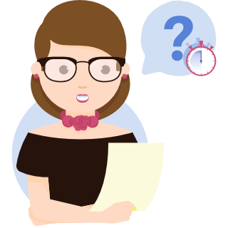 Illustration of a woman asking a timed question